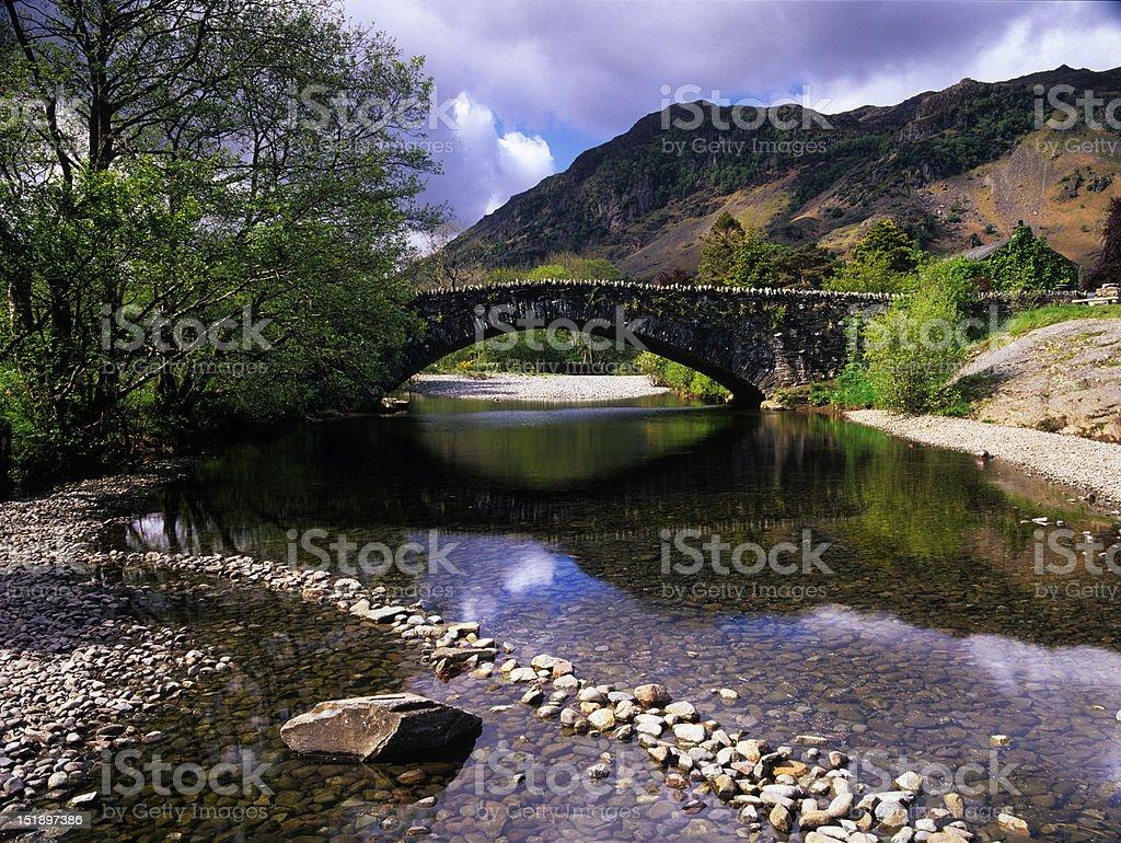 Bridge over the river Derwent, Grange in Borrowdale stock photo