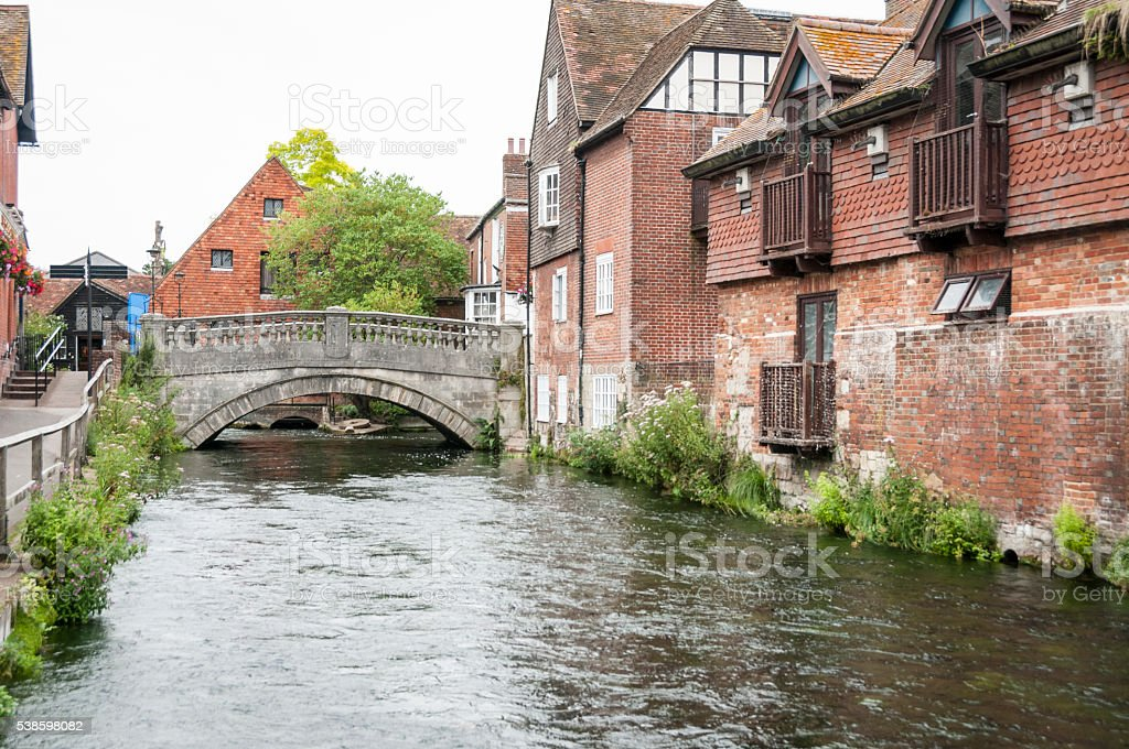 Bridge Over The River Itchen In Winchester stock photo