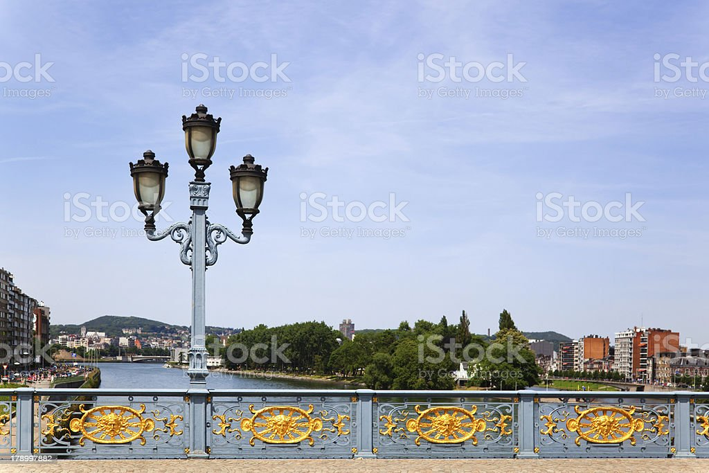 bridge over the river Meuse in Liege stock photo