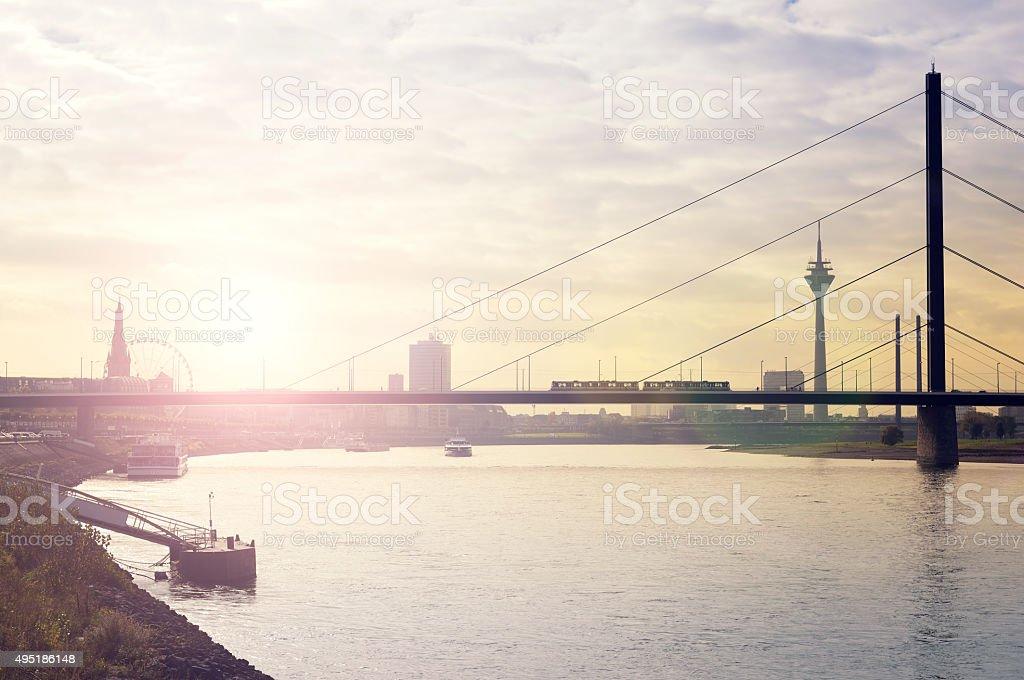 Bridge over the river rhine and skyline of Düsseldorf stock photo