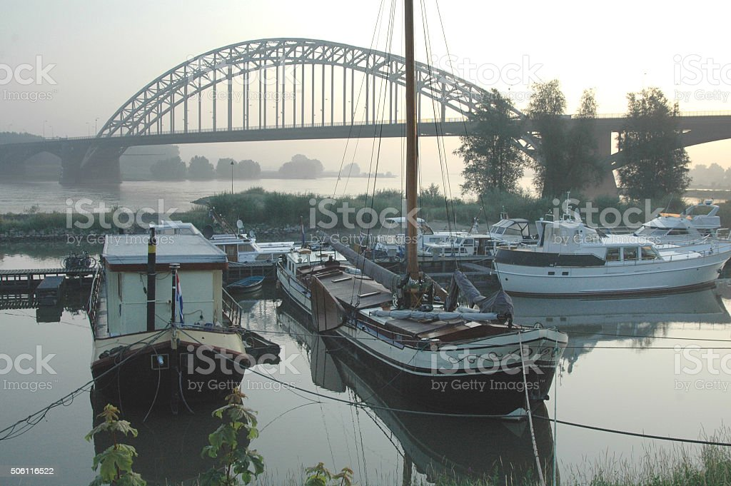 Bridge over the river Waal in Nijmegen, The Netherlands stock photo