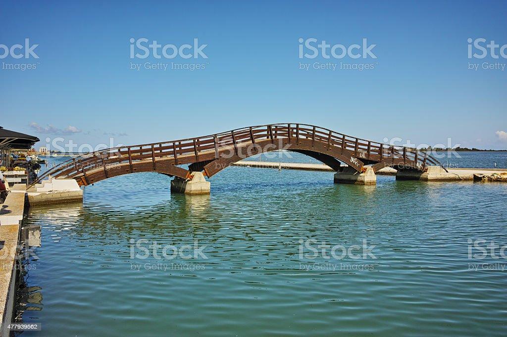 Bridge over the sea in the Lefkada town stock photo
