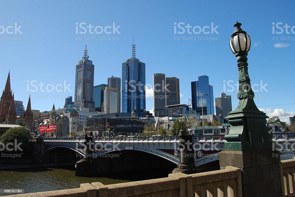 Bridge over the Yarra River in Melbourne stock photo