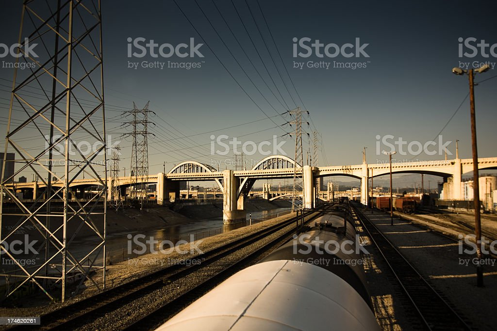 Bridge over train tracks royalty-free stock photo