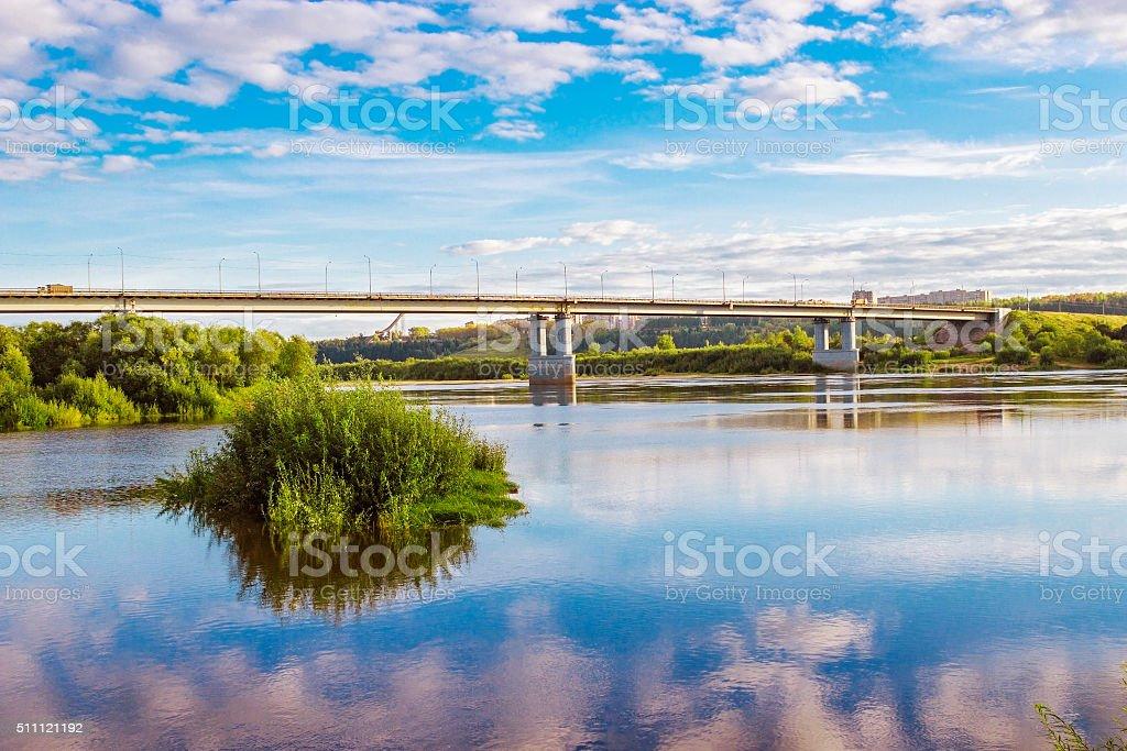 bridge over vyatka stock photo