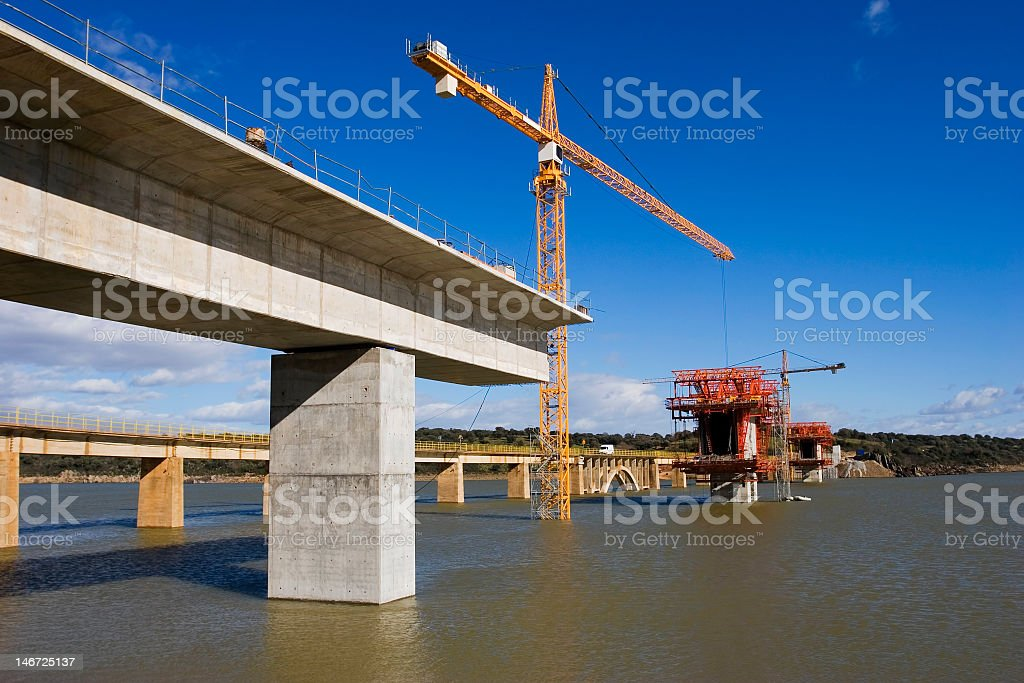 A bridge over water under construction stock photo