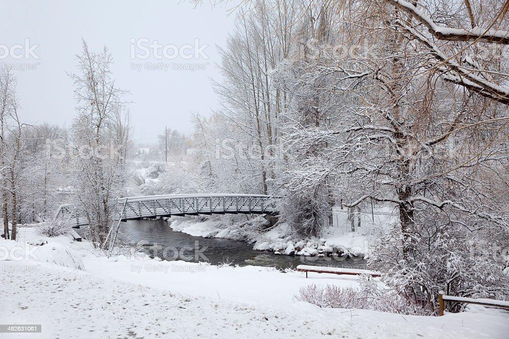 Bridge over Yampa River Steamboat Springs Colorado stock photo