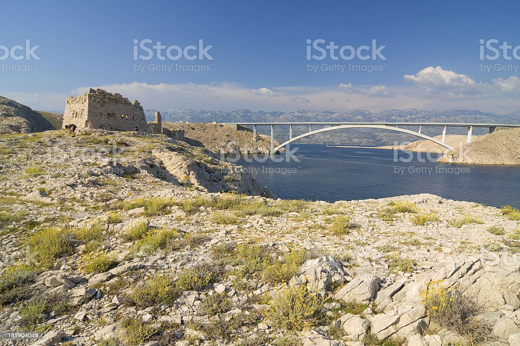 Bridge, Pag Island, Croatia royalty-free stock photo