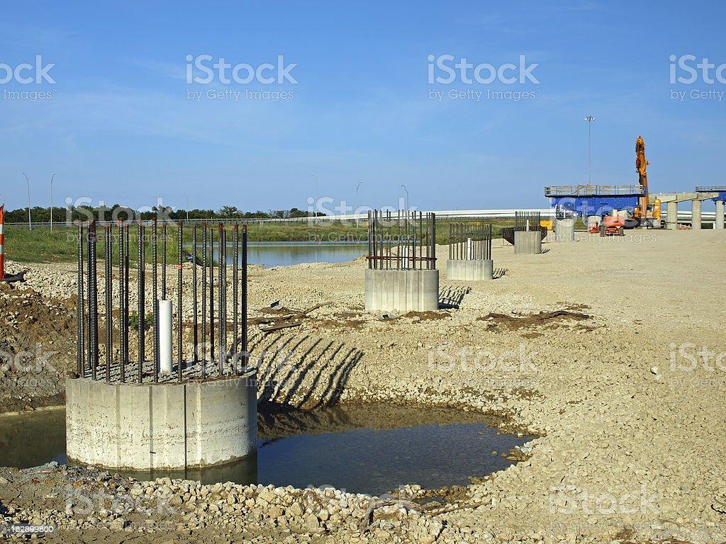 Bridge piers under construction stock photo