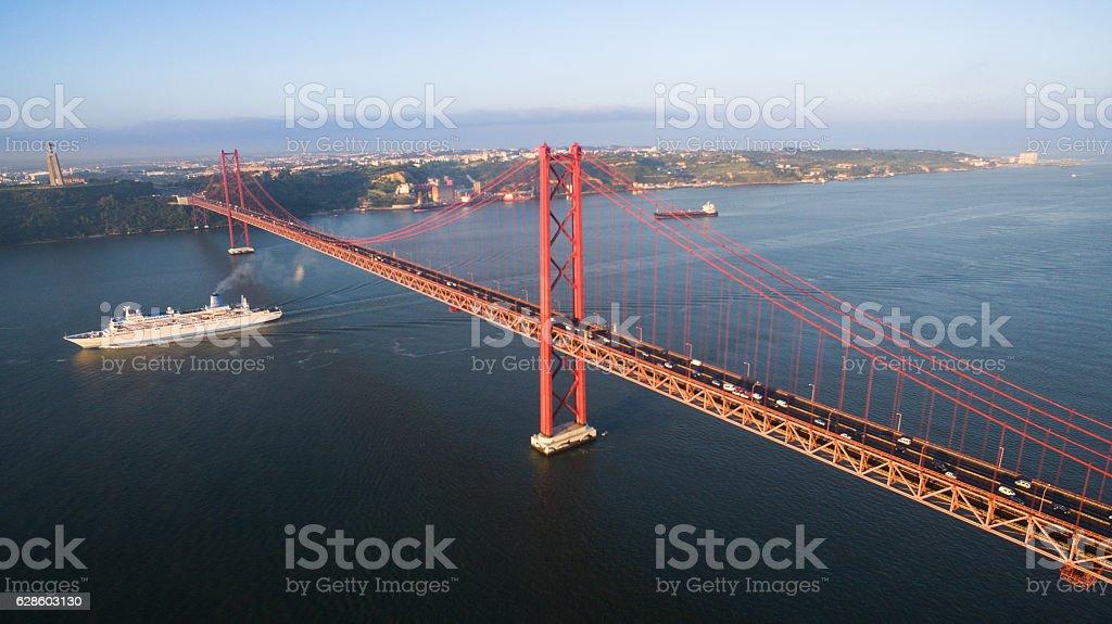Bridge Ponte 25 de Abril over the Tagus river stock photo