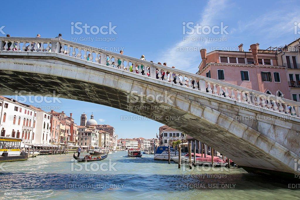 bridge Ponte degli Scalzi, Grand Canal Venice, Italy stock photo