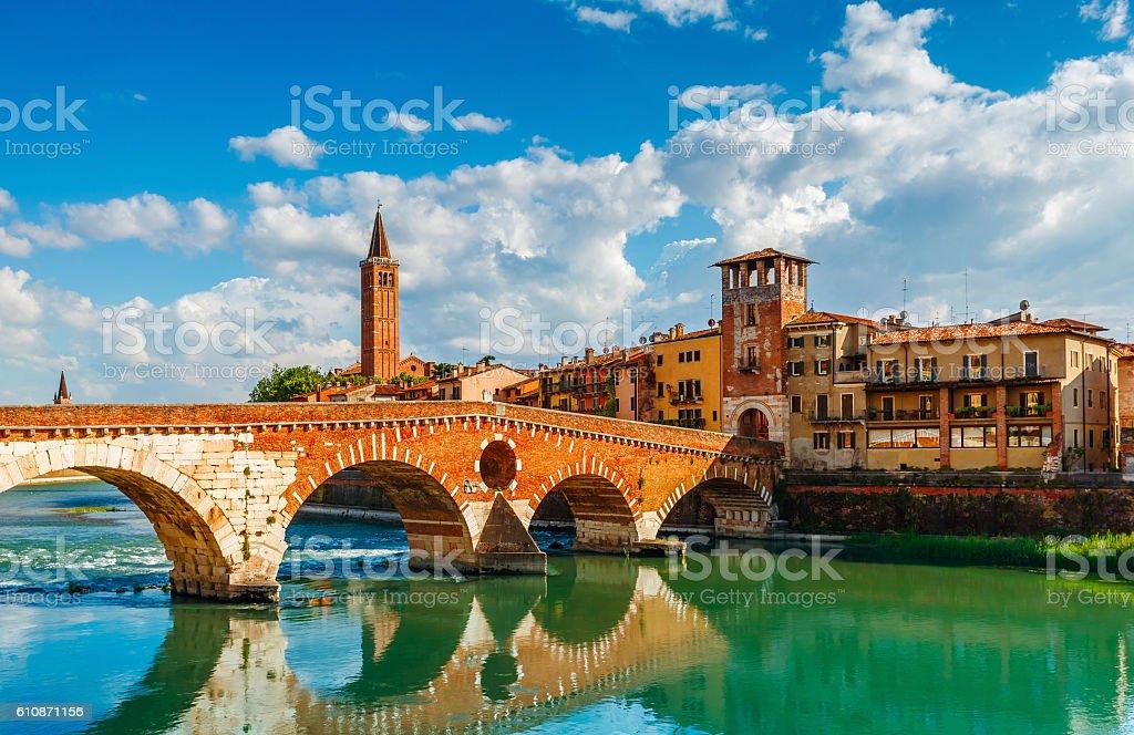 Bridge Ponte Pietra in Verona on Adige river stock photo