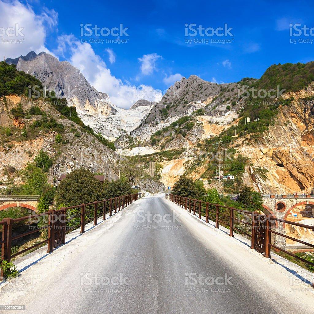 Bridge Ponti di Vara  white marble quarry, Apuan Alps, Carrara stock photo