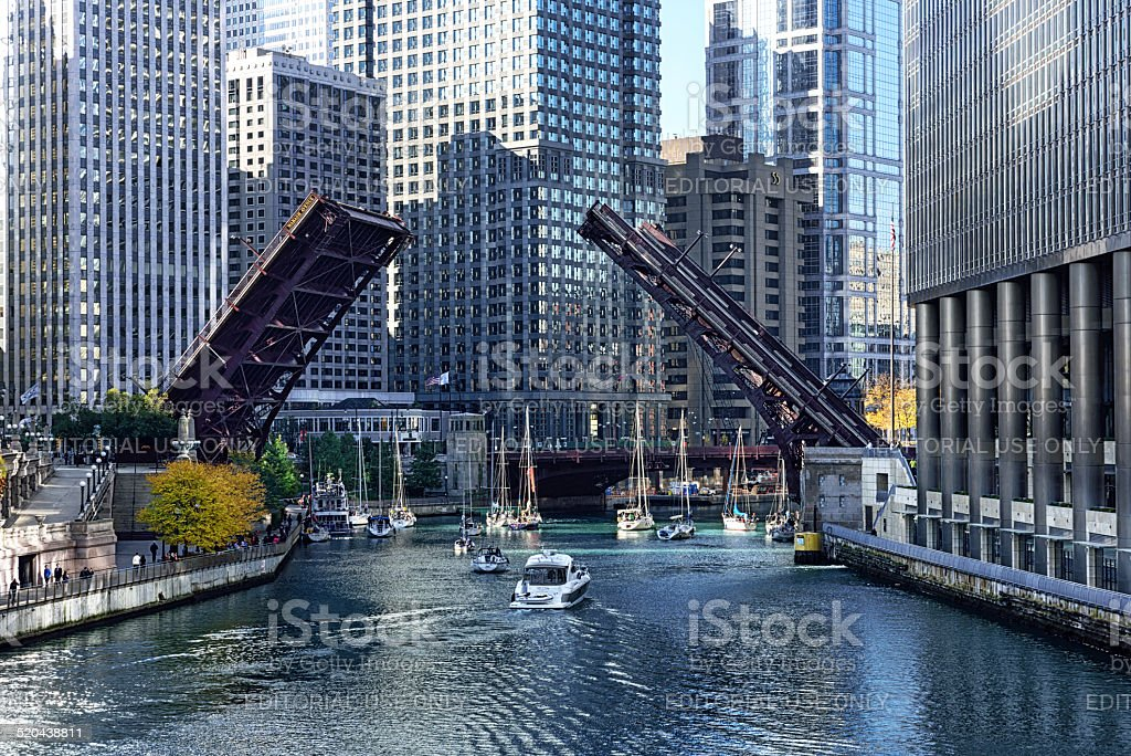Bridge raised for sailboats in Chicago stock photo