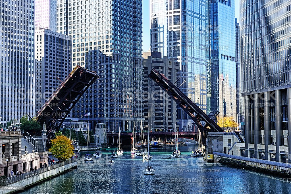 Bridge raised for sailboats on Chicago River stock photo