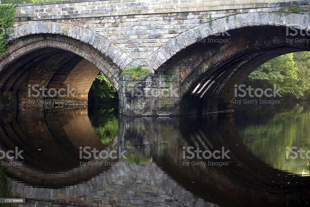 bridge reflection like a face, Knaresborough, Yorkshire royalty-free stock photo