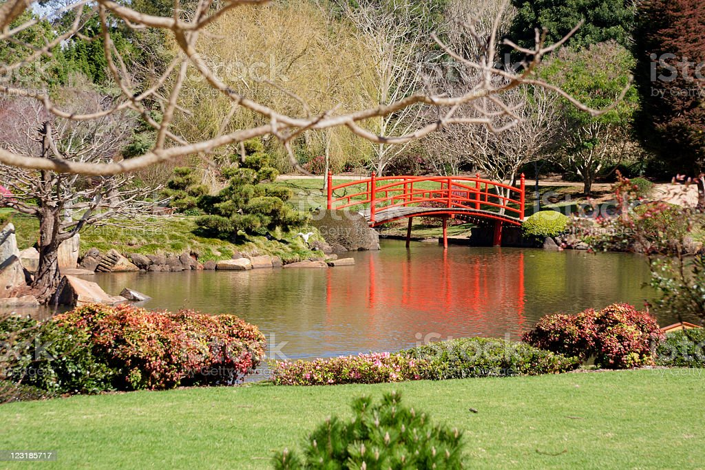 Bridge Reflections in Zen Garden royalty-free stock photo