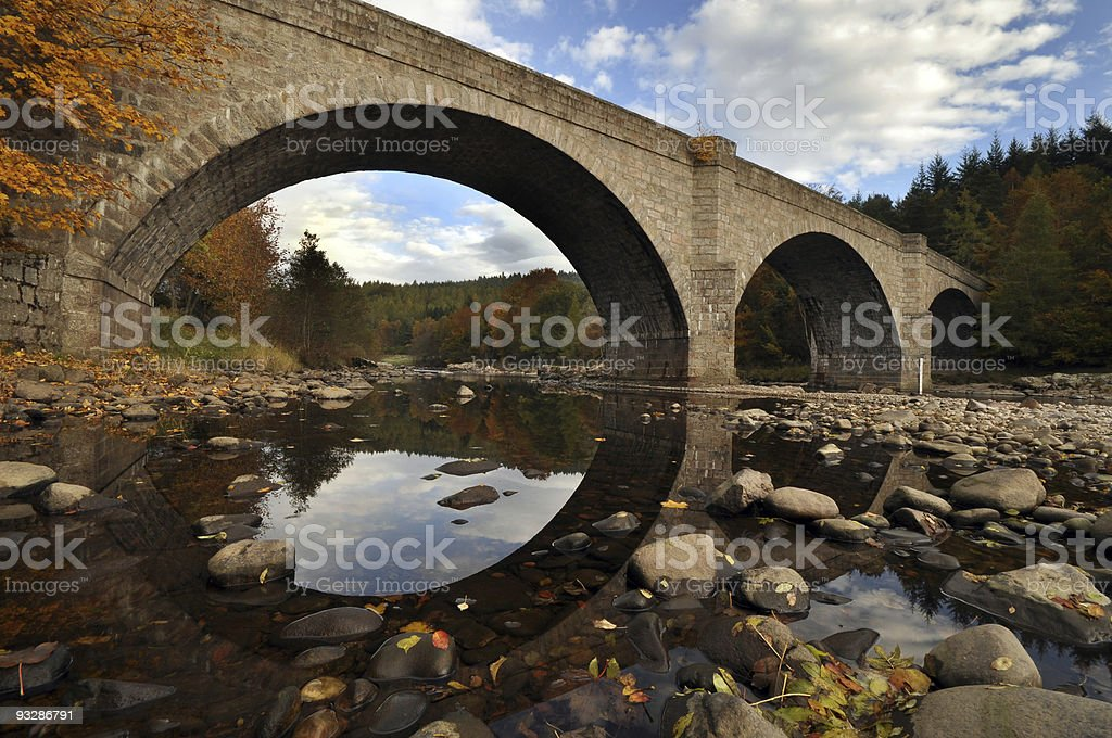 Bridge, River and Reflection stock photo