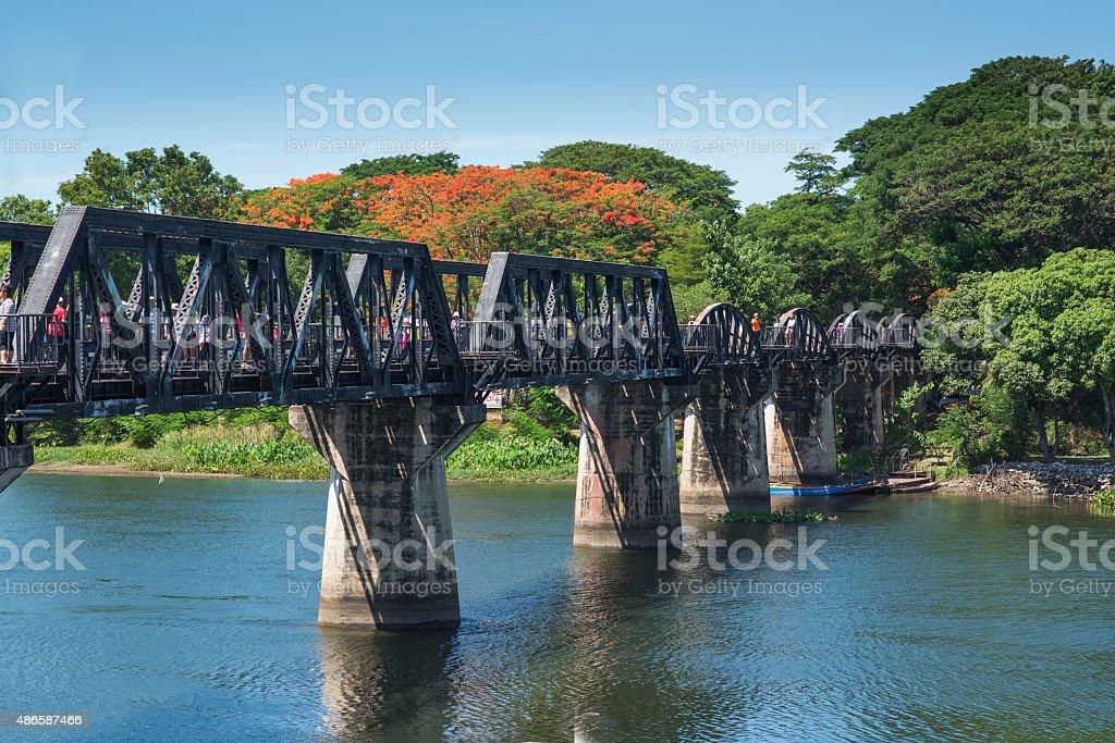 Bridge River Kwai, Kanchanaburi, Thailand . stock photo