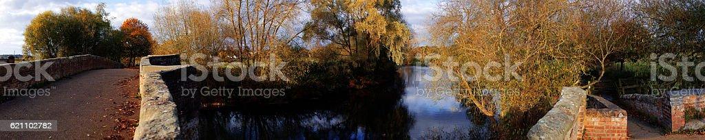 bridge river stock photo