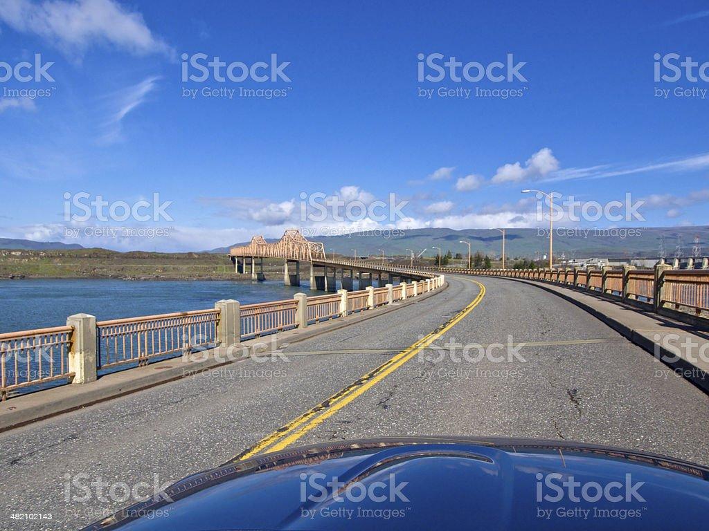 Bridge Road The Dalles Oregon To Washington From a Car stock photo