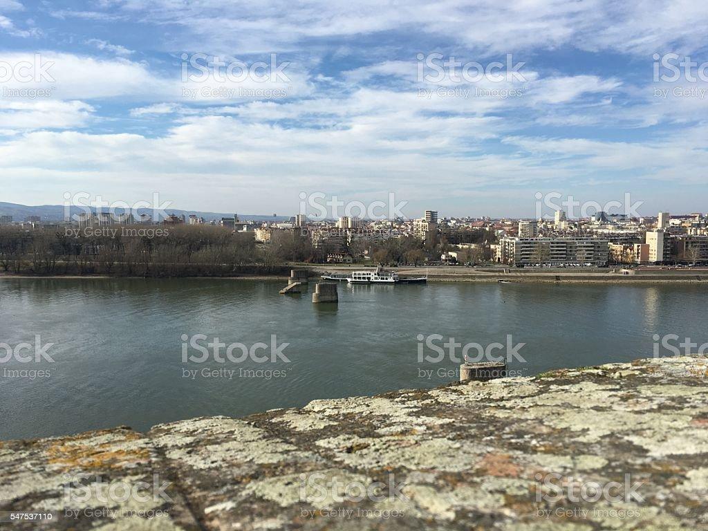 Bridge Ruins on the Danube stock photo