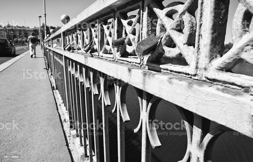 Bridge Sanchez Fabres locks stock photo