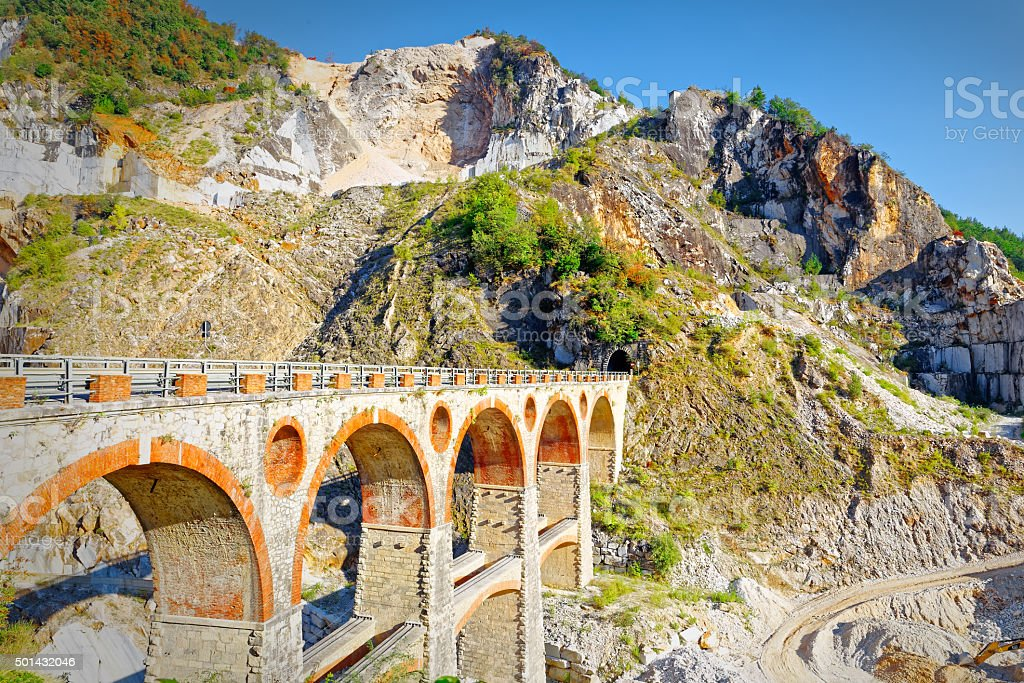 Bridge service in a marble quarry in Carrara stock photo