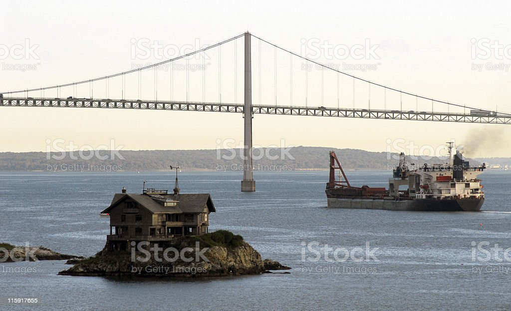 Bridge, Ship and Weather Station, Rhode Island stock photo