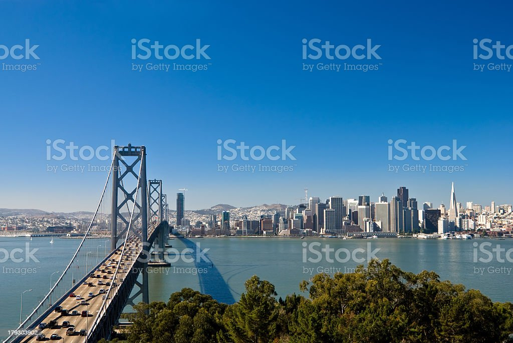 Bridge side view of the San Francisco skyline on a clear day stock photo