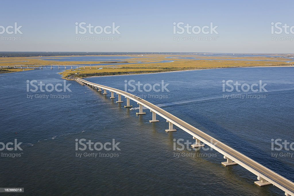 Bridge spanning over Great Egg Harbor Inlet, New Jersey royalty-free stock photo