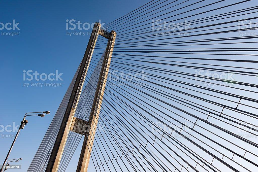 bridge steel ropes constructions on sky  background stock photo