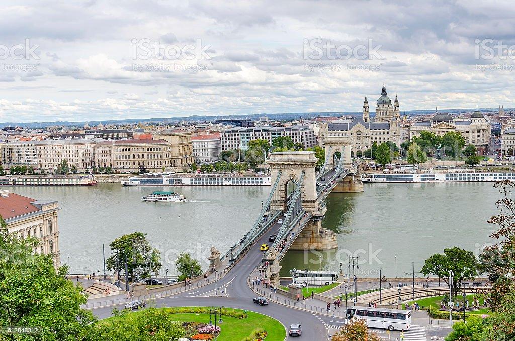Bridge Szechenyi in Budapest, Hungary. stock photo