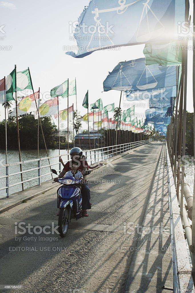 Bridge that gives acces to kampung Desar Sabak. stock photo