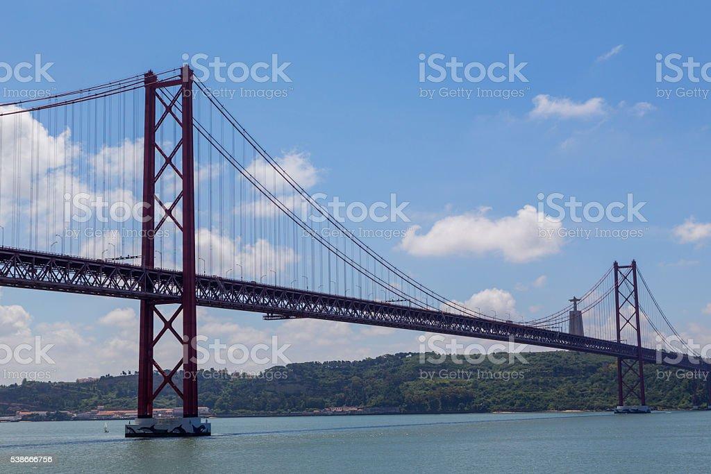 bridge the 25 april on river Tejo stock photo