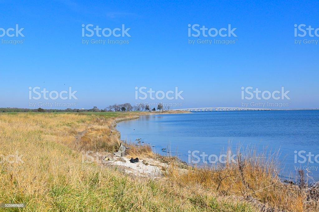 Bridge To Assateague Island National Seashore stock photo