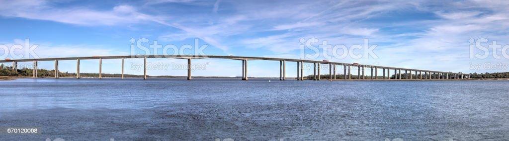 Bridge to Daniel Island Panorama stock photo