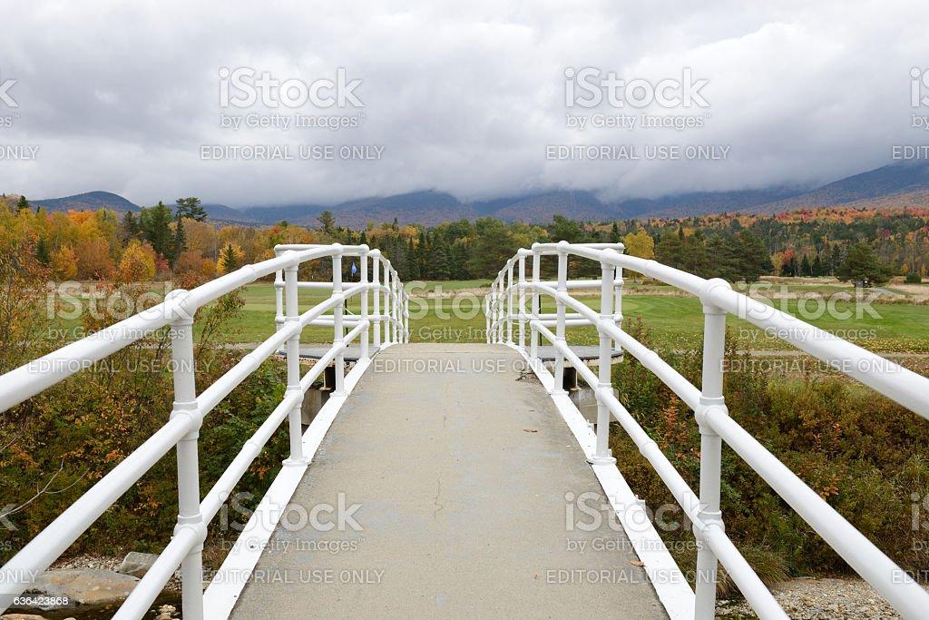 Bridge to golf course stock photo