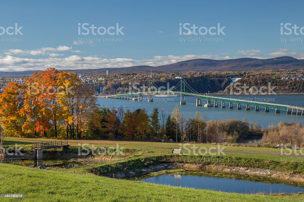Bridge to Ile d'orlean quebec stock photo