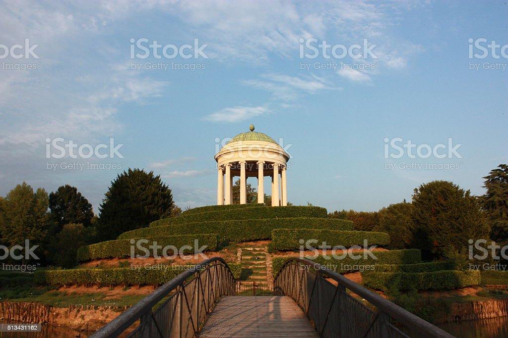 Bridge to Monopteros in Park Querini in Vicenza, Veneto Italy stock photo