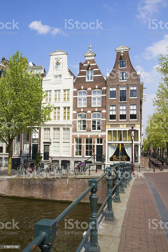 bridge to old houses, Amsterdam royalty-free stock photo