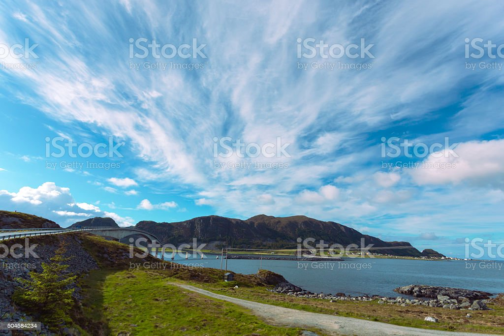 bridge to rocky island stock photo