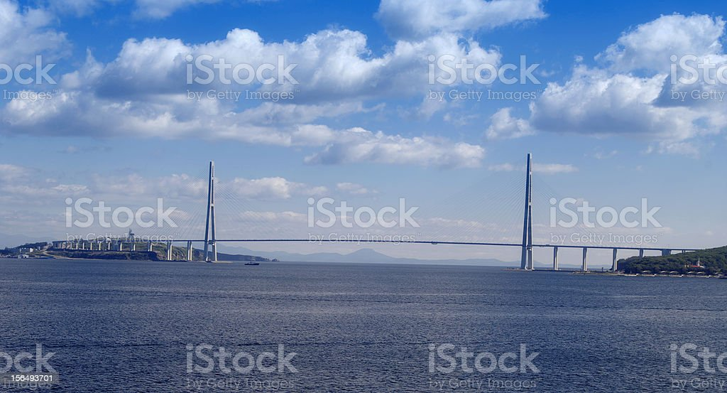 bridge to Russian Island, royalty-free stock photo