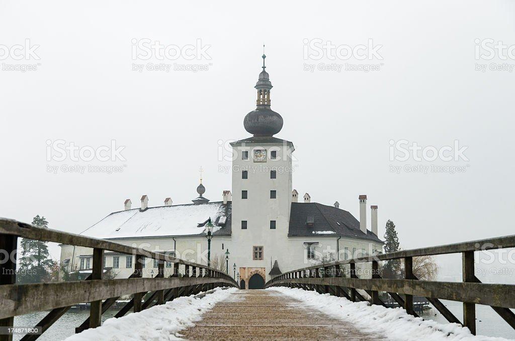 Bridge to Seeschloss Ort stock photo