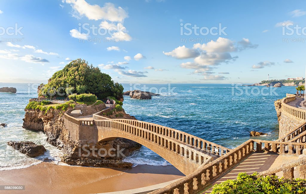 Bridge to the island in Biarritz stock photo