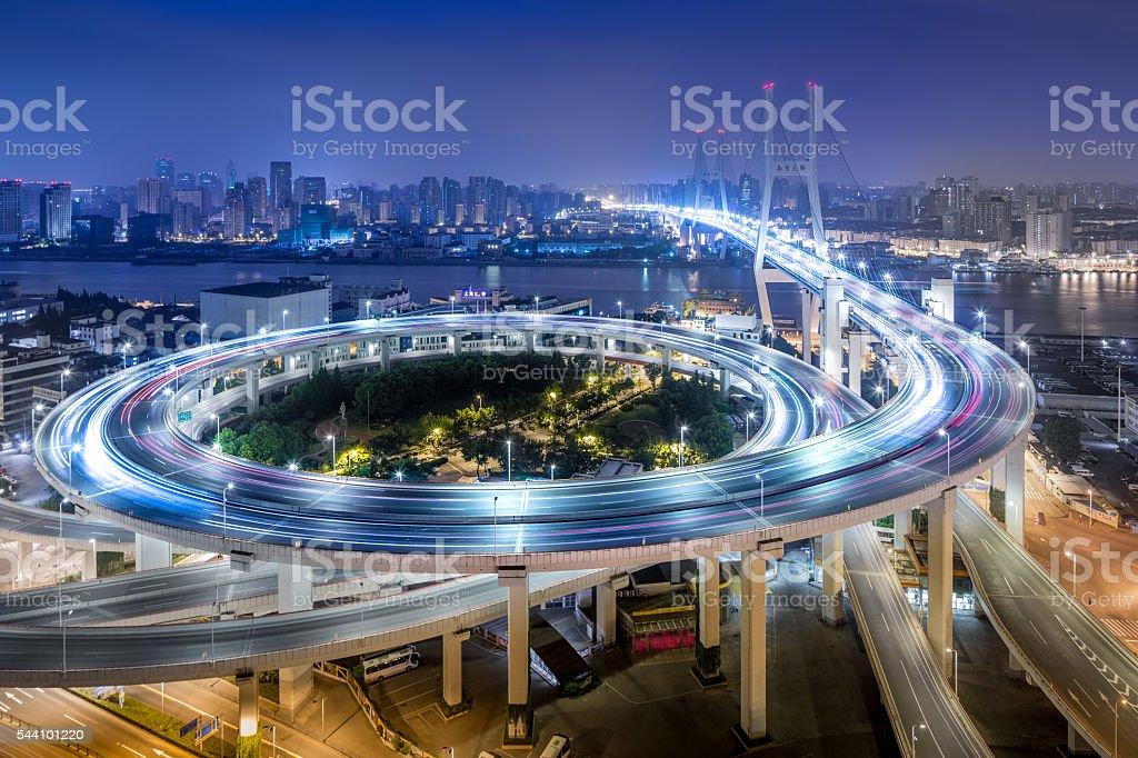 Bridge traffic at night stock photo