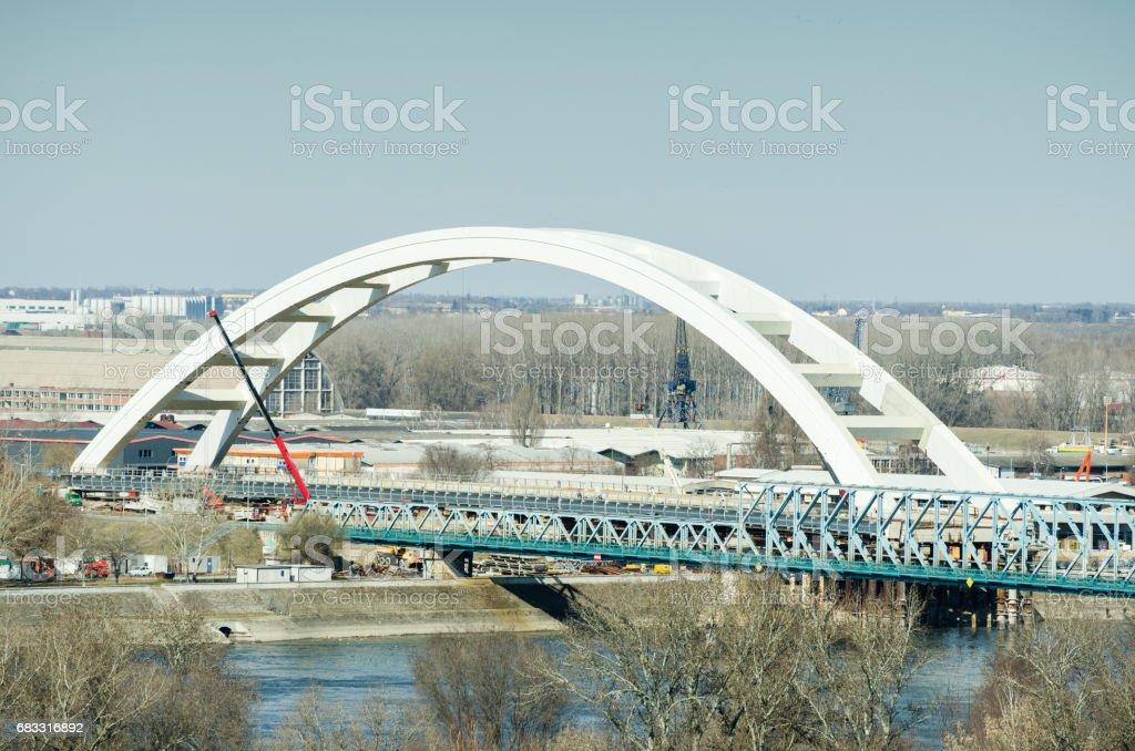 Bridge under construction. stock photo