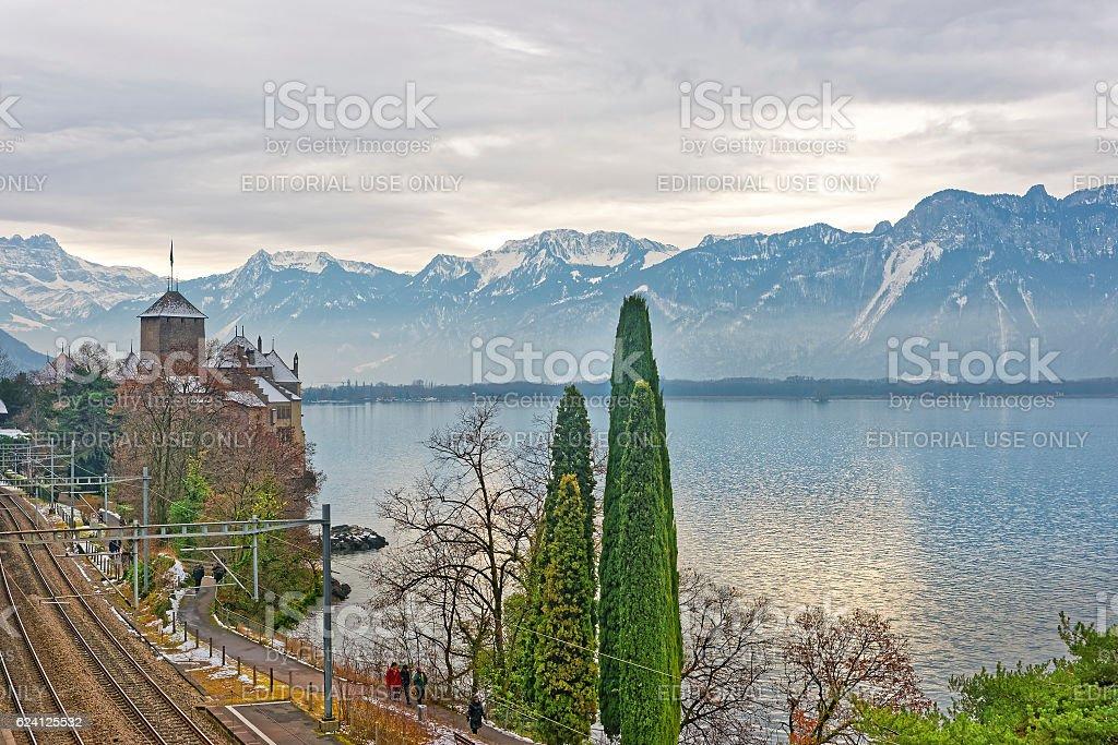Bridge View to Chillon Castle on Lake Geneva in Switzerland stock photo