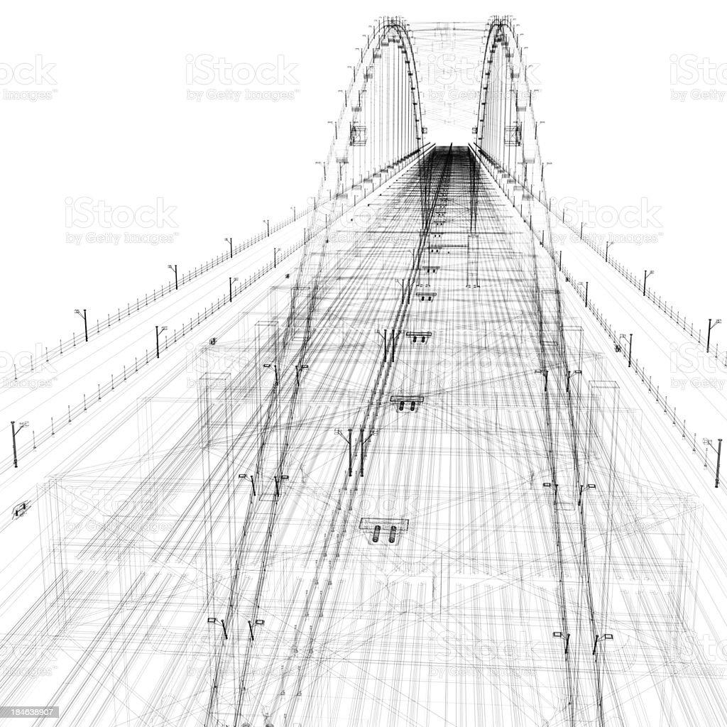 Bridge Wirefram royalty-free stock photo