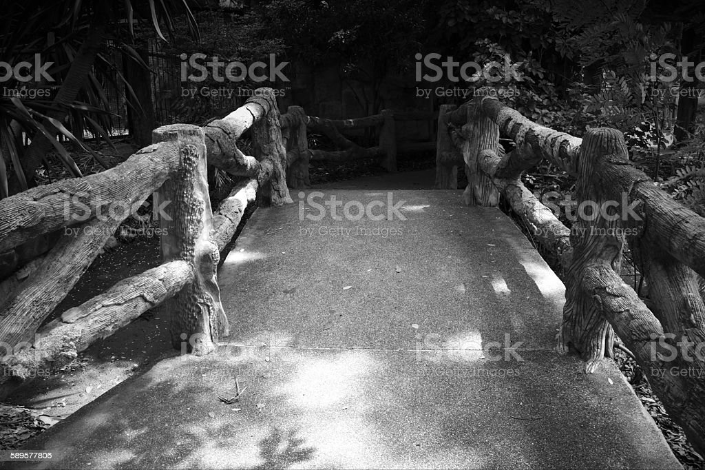 Bridge with artificial wooden created by cement. (Black and Whit stock photo